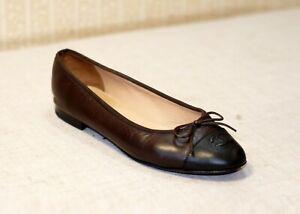 900$ CHANEL brown black lambskin leather cap toe shoes ballet flats 39 us8.5 uk6