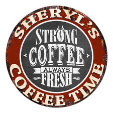 CWCT-0307 SHERYL'S COFFEE TIME Chic Tin Sign Decor Gift Ideas