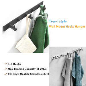 3-6 Wall Mount Hooks Hanger High Load Stainless Steel Towel Coat Clothes Holder
