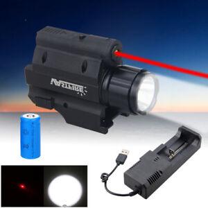 Tactical Combo LED Flashlight Red Laser Sight For 20mm Rail Mini Glock Pistol US