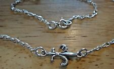 "16"" Sterling Silver Figure 8 Link 2.5mm Fleur de Lis Necklace Spring ring clasp"