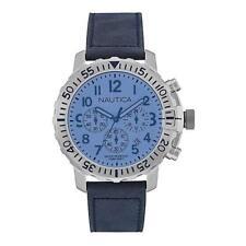 Mens Watch NAUTICA NMS 01 NAI19534G Chrono Leather Blue NEW 100mt