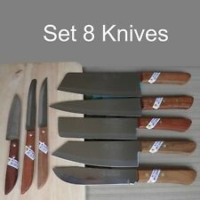 Chef Knife Set 8 Knives Kiwi Thai Brand New Cutlery Stainless Steel Wood Handle