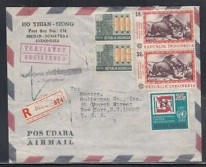 INDONESIA Registered Cover Medan to New York City 18-7-1970 Cancel