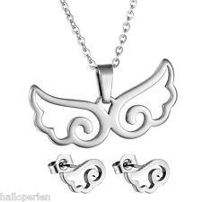 1Set Girl Women Stainless Steel Earring Pendant Necklace Jewelry Set Angel Wings