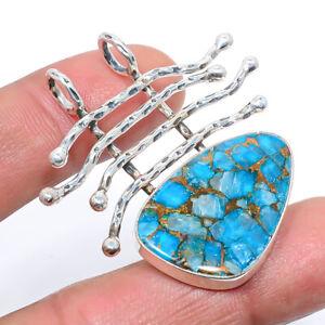 """Santa Rita Copper Turquoise Oxidize 925 Sterling Silver Pendant 1.7"""" M1529"""