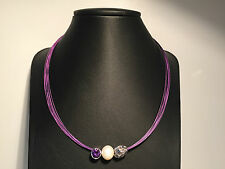 Nuevo - Collar Necklace PURPLE with PEARL, Purple Crystal and Silver