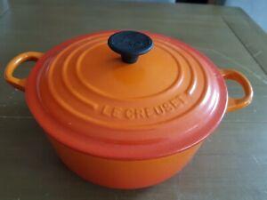 LE CREUSET Volcanic Orange 20cm Cast Iron 2.4L Casserole Dish Pot