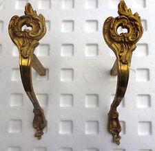 Paire d'anciens supports de tringle a rideau  ,   ,  bronze doré