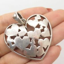 Vintage Mexico 925 Sterling Silver Large Heart Pendant