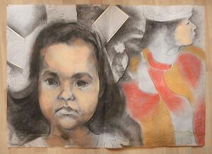 Austrian/Czech artist, large surrealist painting two girls, signed
