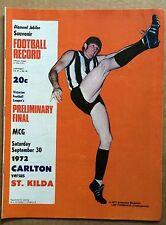 VFL RECORD - PRELIMINARY FINAL 1972 CARLTON v ST KILDA AFL