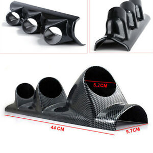 Universal Pillar Dash Panel Trim Mount Carbon Fiber Look Triple Gauge Pod Holder