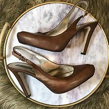 Nine West Sz 8.5 M Gold Brown Soft Leather Slingback Platform Pumps Heels