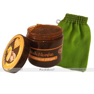 Moroccan Argan Oil Lemon Extract Black Beldi Soap Hammam Exfoliating Kessa Glove