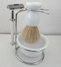 Shave Set Men Razor Shaving Brush Stand and white Soap dish Gift