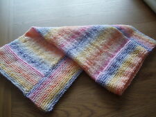A Lovely Handknitted Brighter Rainbow Coloured Acrylic Baby Blanket-crib etc