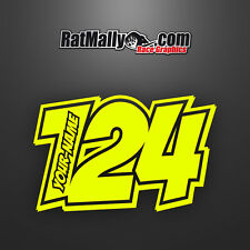 "RACE NUMBERS NAME DECALS STICKERS TRACK GRAPHICS - RATMALLY ""POW-NEON""(x3)"