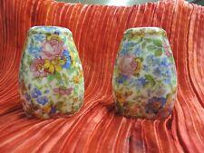 Vintage Porcelain Salt Pepper Shaker Set Czechoslovakia Floral Chintz Beautiful