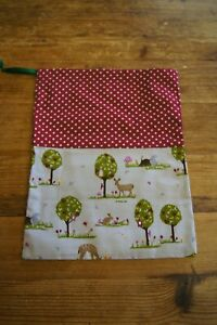 Handmade shabby chic drawstring gift bag storage red spot trees and deer forest