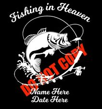In Loving Memory of Custom Car Vinyl Decal Fishing In Heaven GRANDPA DAD SON