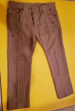 Diesel Braddom Slim Carrot Mens Striped Jeans Beige Tan Never Worn 36 x 31