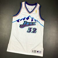 100% Authentic Karl Malone Champion 96 97 Jazz Signed Game Issued Jersey