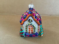 Vintage Christmas Village House Hand Painted Glass Ornament
