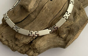 Vintage Solid 925 Silver Bar & Hinge Style Necklace Chain 16 Inch 45.7 Gram