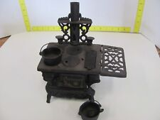 Vintage Miniature Crescent Cast Iron Stove With Pots & Extras