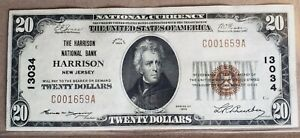 1929 $20 National Bank Note HARRISON NJ XF/AU Charter #13034