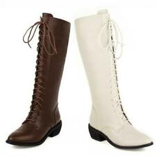 Ladies Women British Mid Calf Knee Boots Office Work Block Heel Casual Shoes L