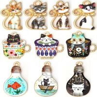Lovely Alloy Enamel Cat Charms Pendants DIY Crafts Jewelry Making Findings 10Pcs