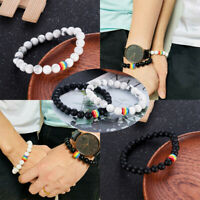 Unisex Rainbow Natural Stone Beaded Bracelets Pride LGBT GAY Couple Jewelry Gift