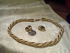"""VINTAGE GOLD TONE/WHITE CORD TWISTED NECKLACE(18"""")=GOLD TONE CLIP EARRINGS CHIC"""