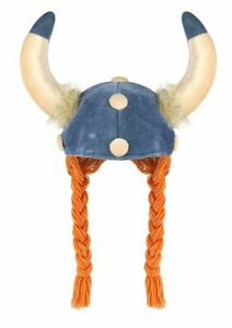 Adult Viking Helmet With Plaits Hair Medieval Hat Fancy Dress Costume Accessory