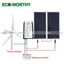 600W/H 24V Hybrid System Kit:400Watt Wind Turbine Generator & 2*100W Solar Panel