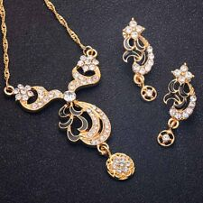 New Women's Wedding Cubic Zirconia Jewelery Sets Gold Plated Necklace Earrings