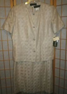 NEW Harve Benard Fully Lined Taupe Woven Linen Jacket and Sheath Dress Sz 16