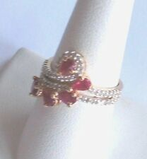 .925 Sterling Silver, Pear Red RUBY / DIAMOND Cocktail Ring, Size 7, New
