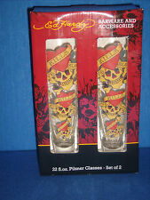 Ed Hardy Pilsner Beer Glass Set Love Kills Slowly CLEARANCE 12