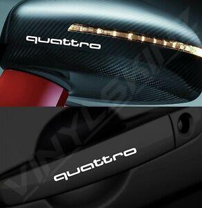 4x Audi Quattro Logo Premium Cast Door Handle / Mirror Decals Stickers S-line RS