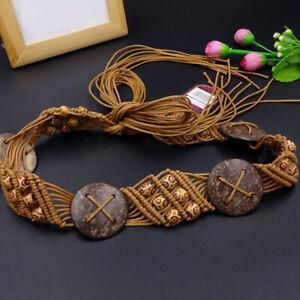 Women Lady Bohemian Boho Long Braided Tassel Waist Belt Band Tie Belt JA