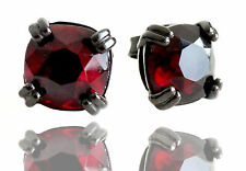 AGATHA Paris Austrian Dark Red Crystal Black-plated Stud Earrings