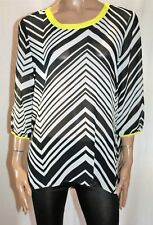 Katies Brand Zig Zag Yellow Trim 3/4 Sleeve Chiffon Blouse Size 14 BNWT #TN45