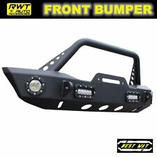 Glossy Black 4 led lights 07-19 Jeep Wrangler Jk Jl Front Bumper winch plate