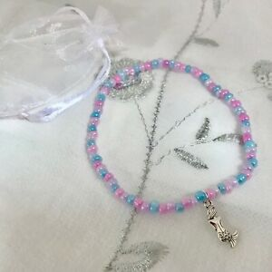 New Mermaid Charm Anklet ~ Pink ~ Stretch ~ Beach Seaside Theme, Ankle Chain