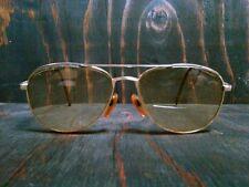 Vtg Gold Eyeglasses Aviator Full Frame Amber Nose Piece Solid Brown Earpieces