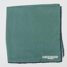 Burberry London Green White Small Polka Dot Navy Blue Border Silk Pocket Square