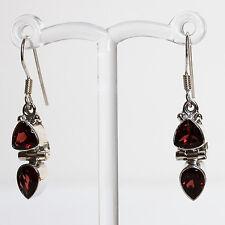 925 Sterling Silver Semi-Precious Natural Stone Drop Earrings - Garnet